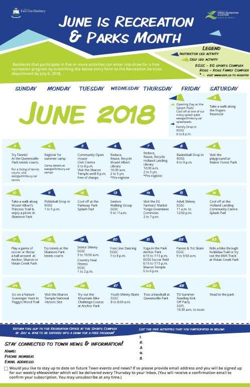 Rec and Parks Month Calendar